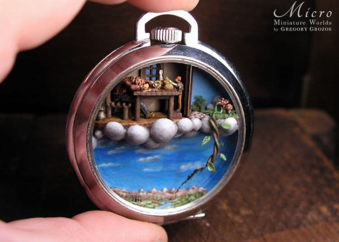 jack and the beanstalk miniature worlds inside pocket watches and pendants