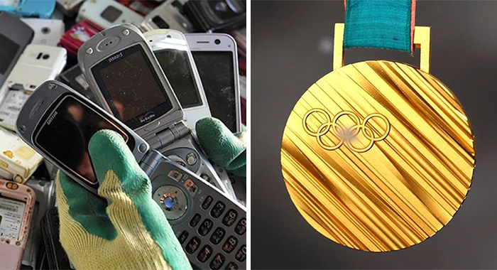 japan olympics medals recycled eletronics