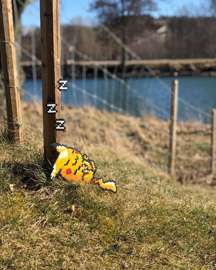 johan karlgren stunning pixel art sleeping pikachu