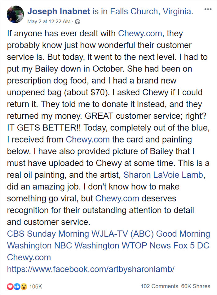 joseph inabnet facebook post for chewy pet store act of kindness customer service