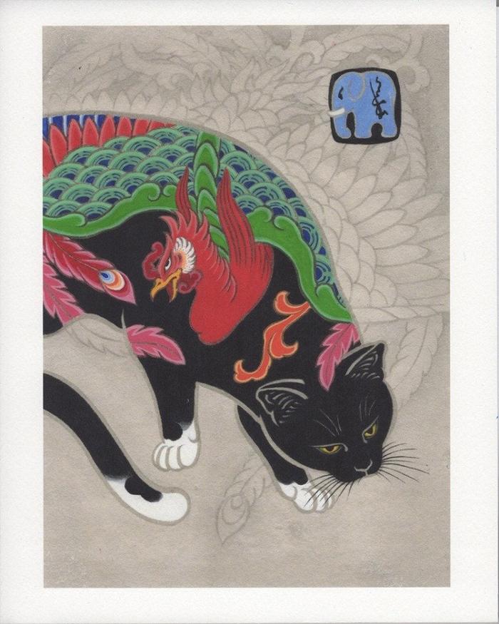 kazuaki horitomo monmon cats dragon rooster tattoo