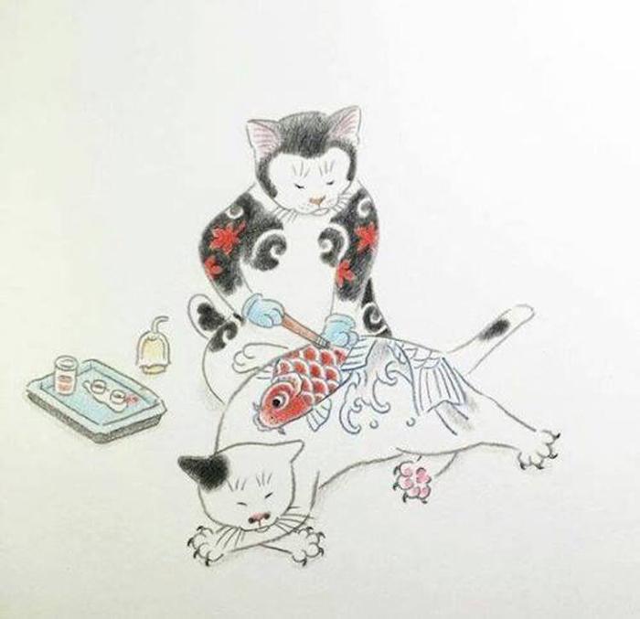 kazuaki horitomo monmon cats ink wash painting