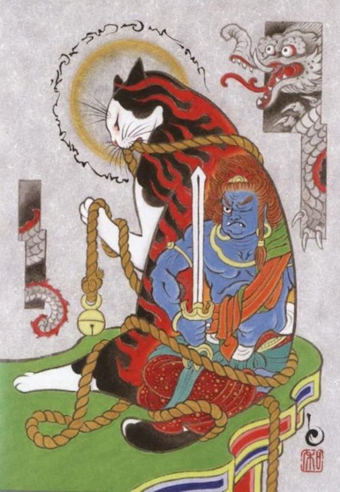 kazuaki horitomo monmon cats japanese folklore