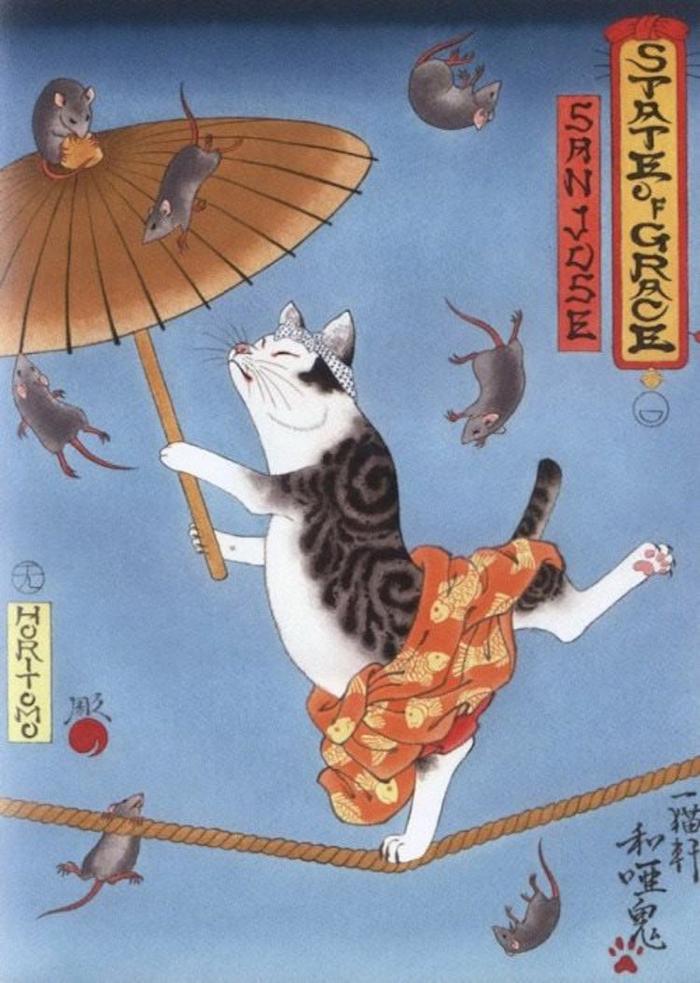 kazuaki horitomo monmon cats rope balance