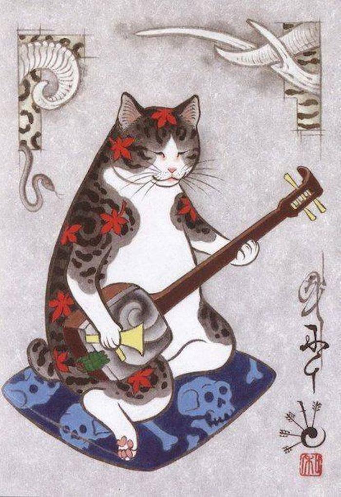 kazuaki horitomo monmon cats with tattoo