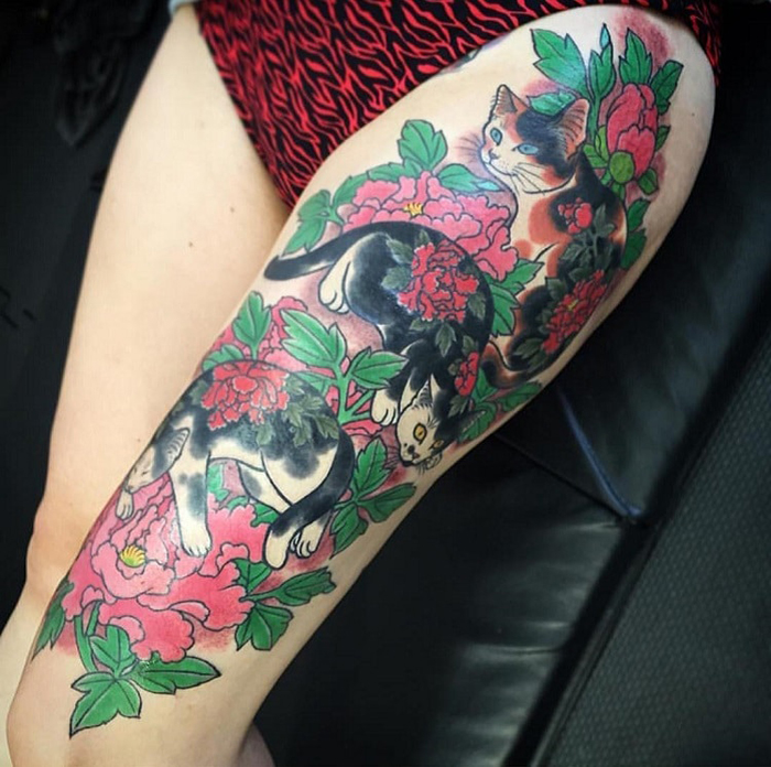 kazuaki horitomo tattoo cat flowers