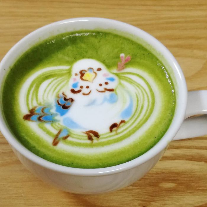 ku-san bird latte art bird sleeve
