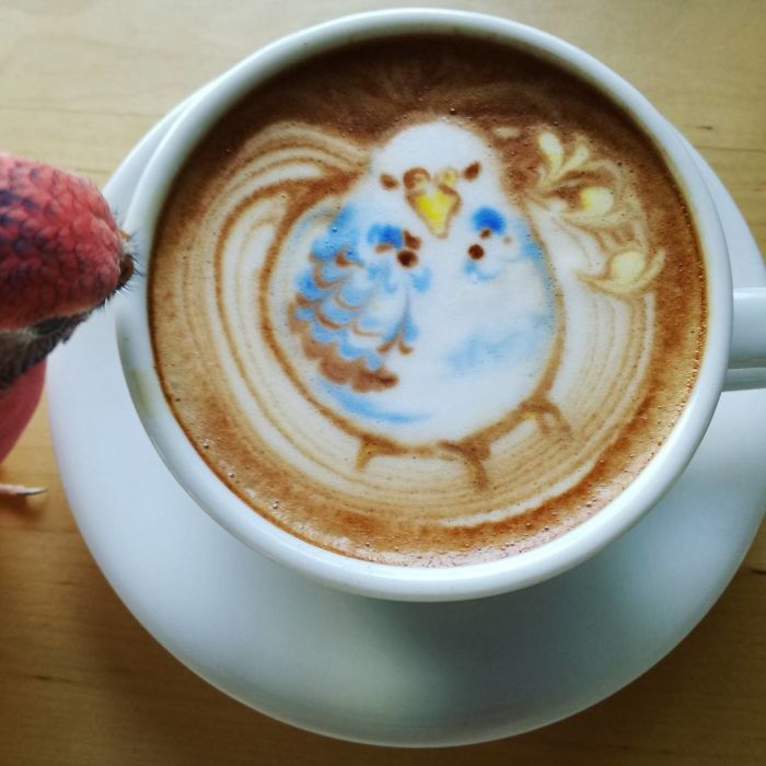 ku-san bird latte art espresso