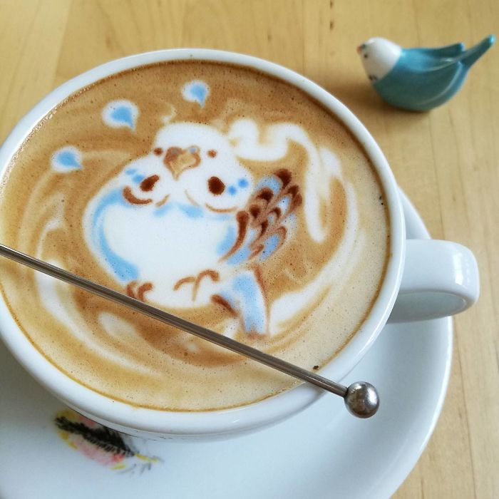 ku-san bird latte art figurine model