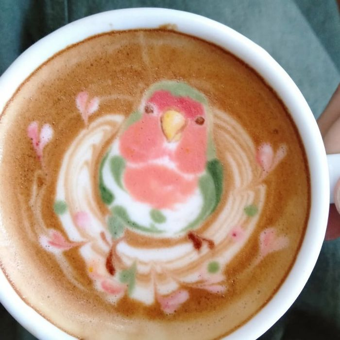 ku-san bird latte art green pink model