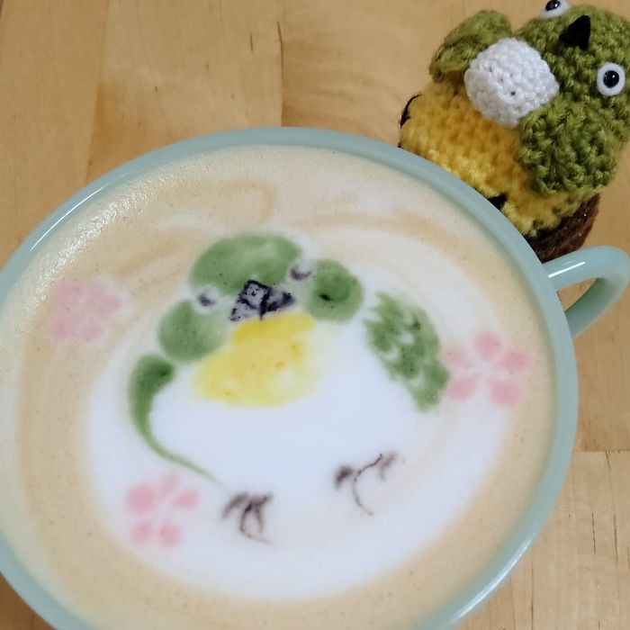 ku-san bird latte art hoji tea