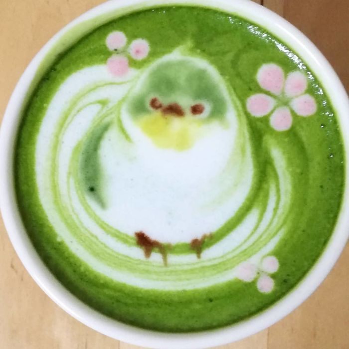 ku-san bird latte art matcha tea