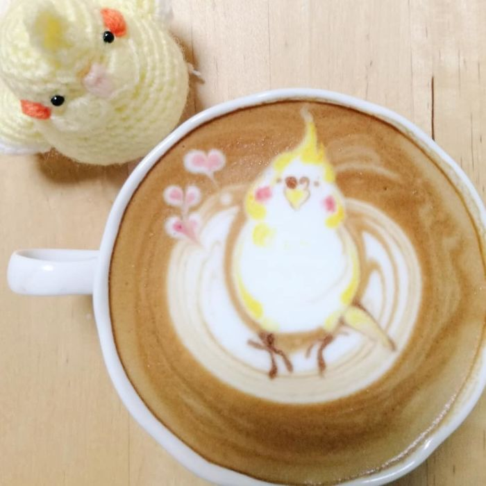 ku-san bird latte art pouring technique