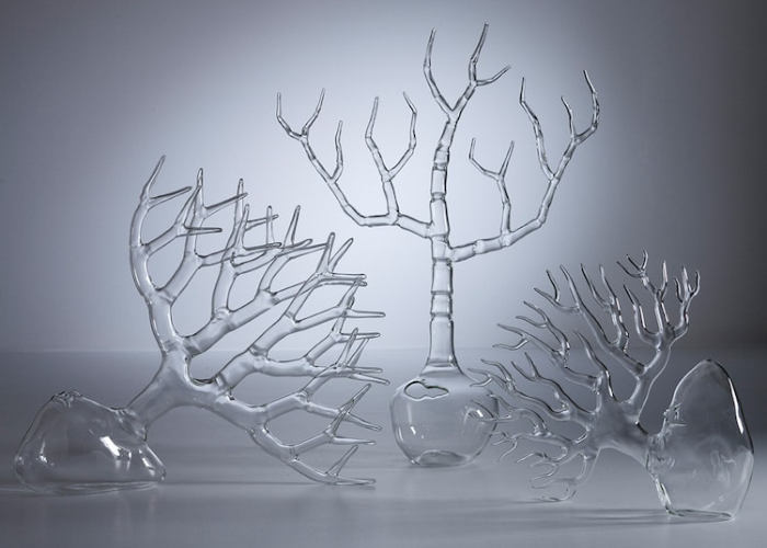 leafless trees simone crestani blown glass sculptures