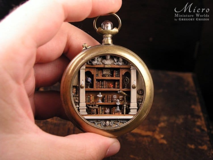library miniature worlds inside pocket watches and pendants