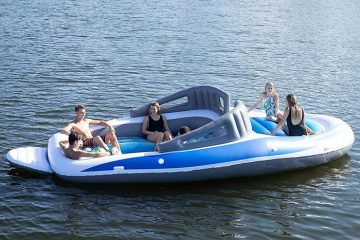life-size inflatable speedboat party island