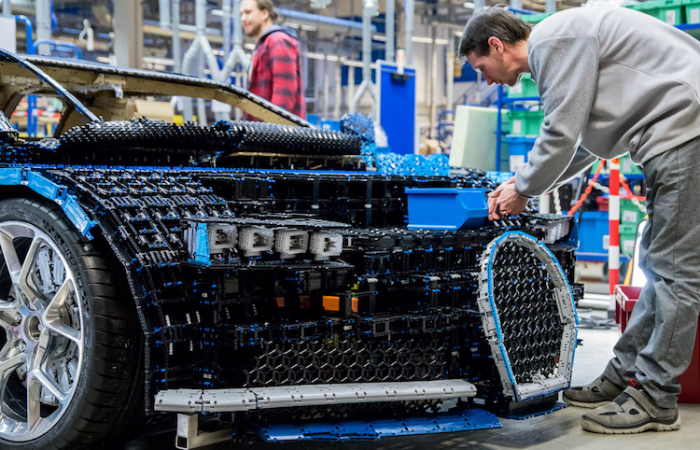 life-sized Bugatti Chiron LEGO car under construction