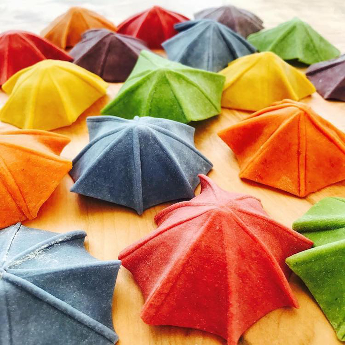 linda nicholson plant-dyed umbrella shaped pasta