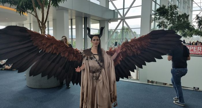 maleficent cosplay animatronic wings drisana litke donned