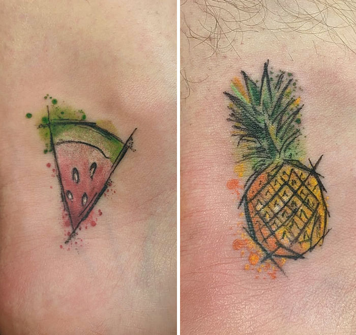 matching tattoos couple fruits