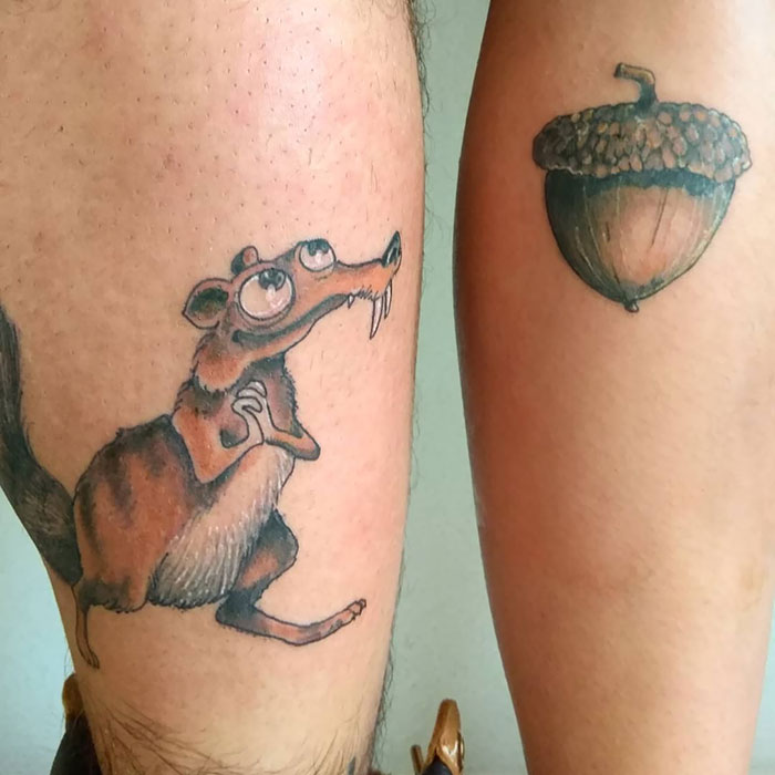 matching tattoos couple scrat acorn