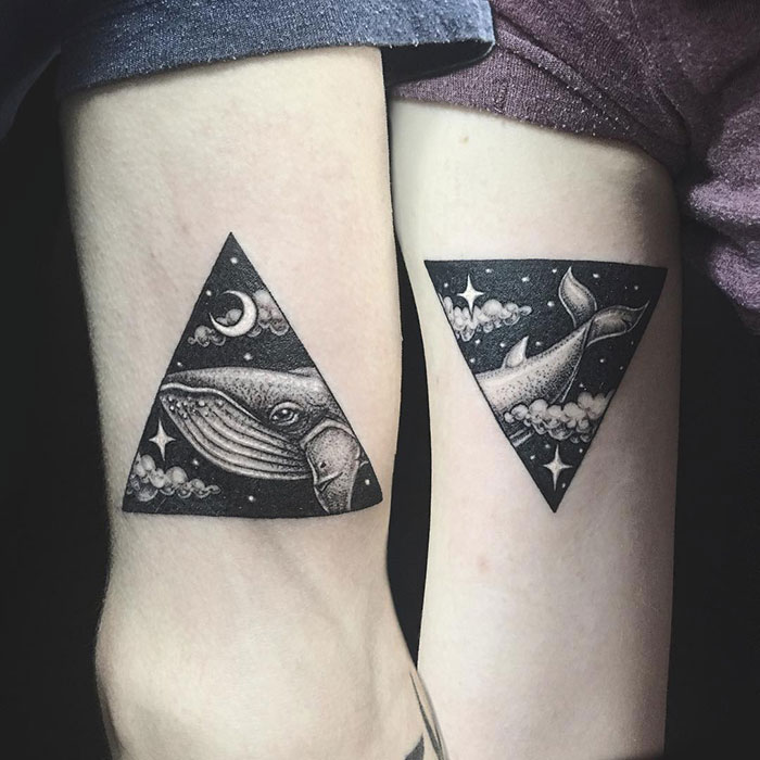 matching tattoos couple whale