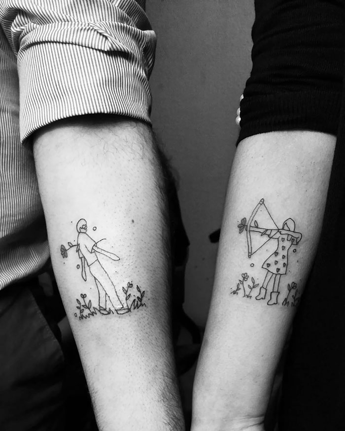 matching tattoos couple