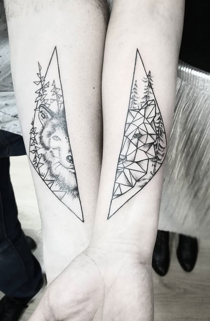 matching tattoos wolf