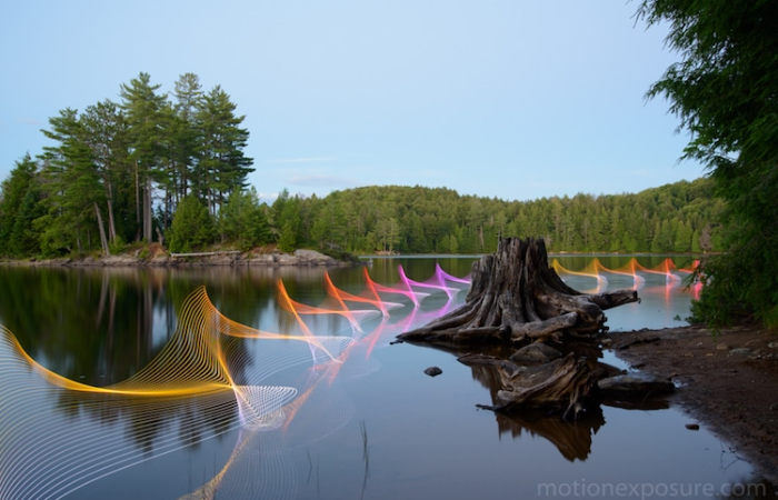 morning nature view of stephen orlando kayak light paintings