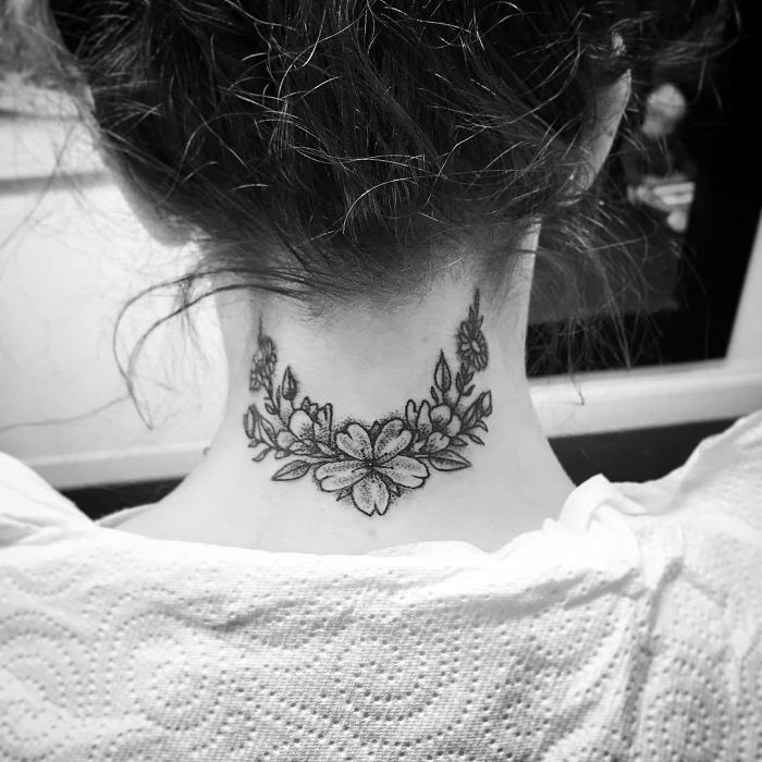 neck tattoo designs floral