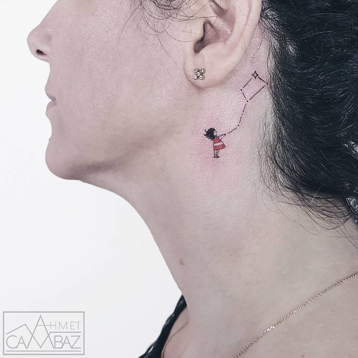 neck tattoo designs kite constellation