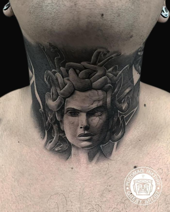 neck tattoo designs medusa
