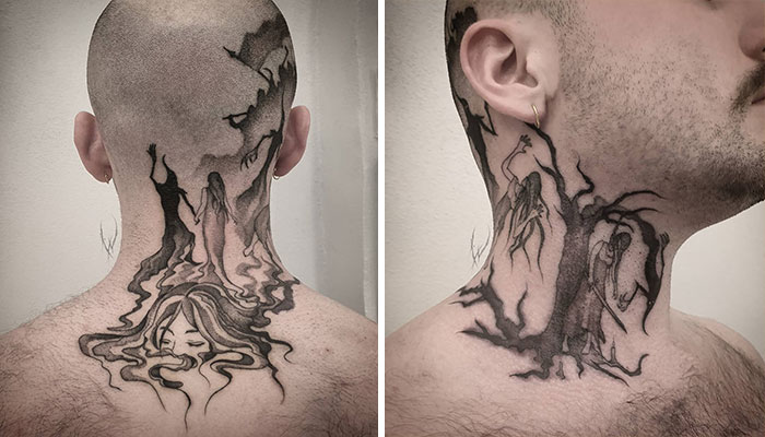neck tattoo designs narrative story