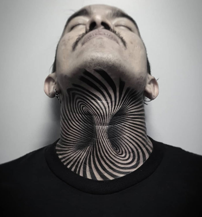 neck tattoo designs optical illusion