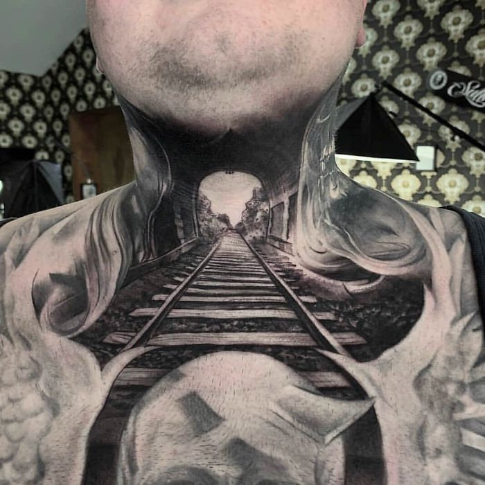 neck tattoo designs railroad optical illusion