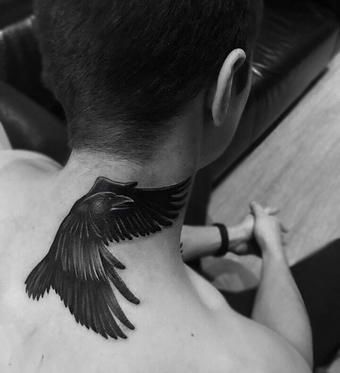 neck tattoo designs raven