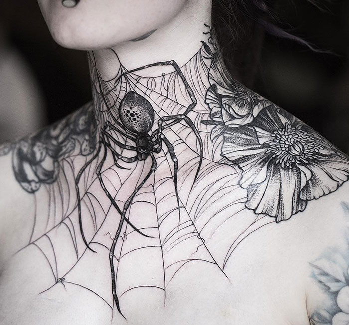 neck tattoo designs spider