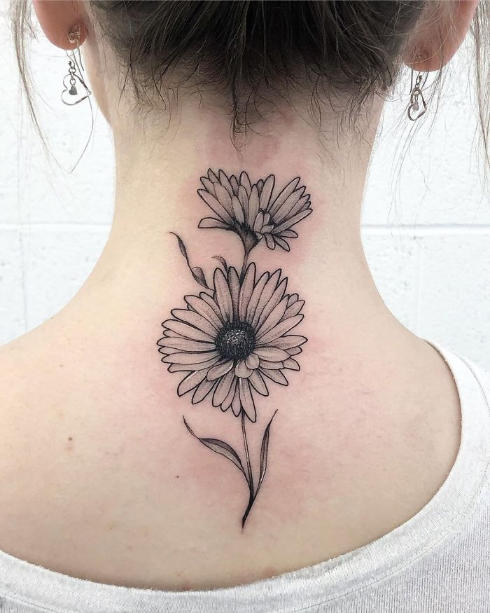neck tattoo designs sunflowers