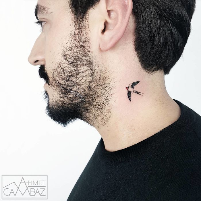 neck tattoo designs swallow bird