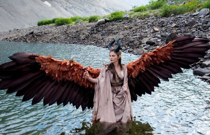 on water maleficent cosplay animatronic wings drisana litke drizzy designs