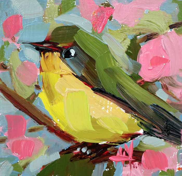 one yellow green oil paintings bird art Angela Moulton