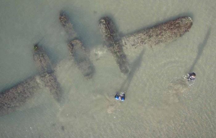 p-38 on welsh beach - interesting beach things