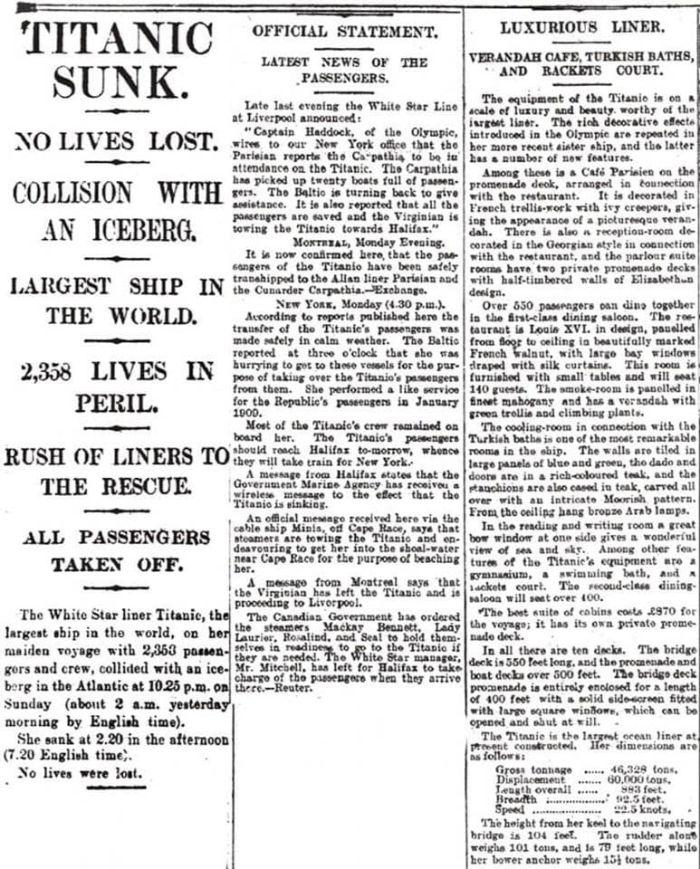past headlines titanic sunk