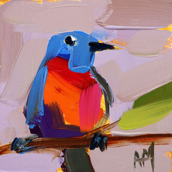 pomelo blue oil paintings bird art Angela Moulton