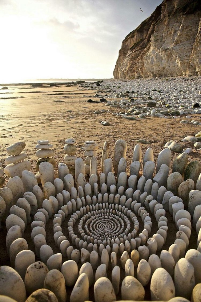 rocks in james brunt land art by the beach