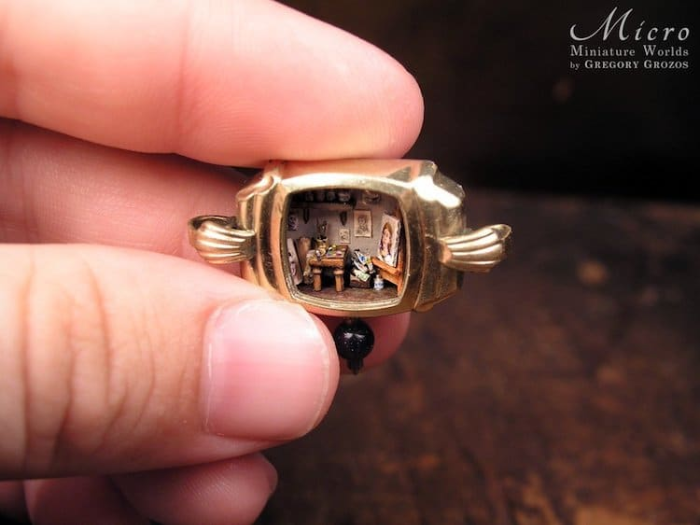 room in miniature worlds inside pocket watches and pendants