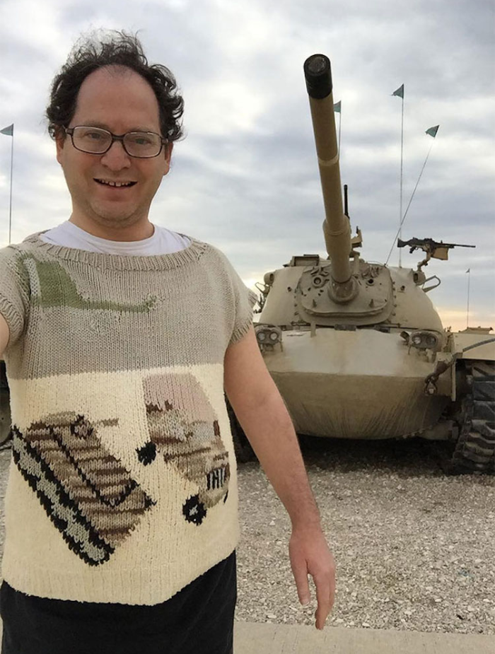 sam barsky postcard sweaters military vehicle