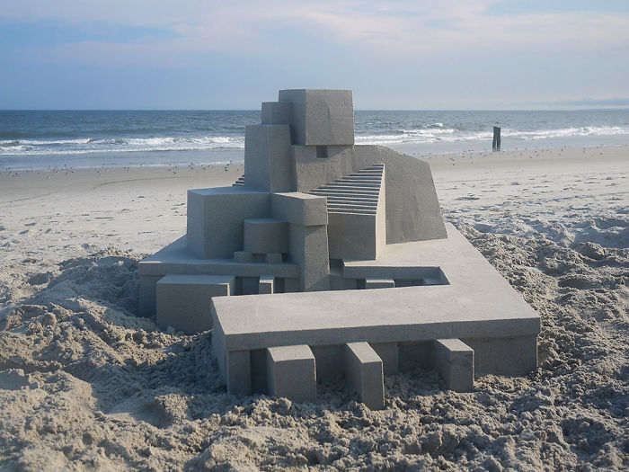 sandcastle with extremely clean lines - interesting beach things