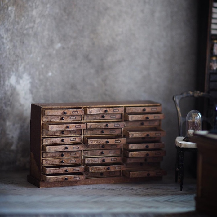 several drawers and cabinets handmade miniatures kiyomi chiisana shiawase