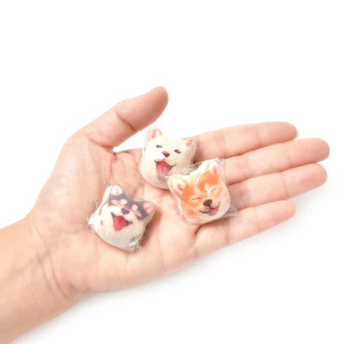 shiba inu marshmallows dog head
